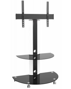 """TygerClaw """"LCD84113BLK"""" Superior TV Cart with Glossy Glass Base and AV Componet Shelf"""