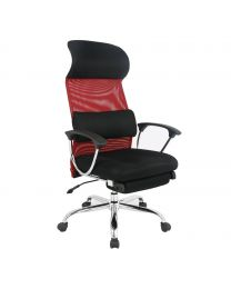 TygerClaw Ergonomic High Back Mesh Office Chair with Headrest (Red)