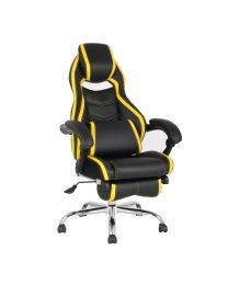 TygerClaw Executive High Back PU Leather Office Chair (Yellow)