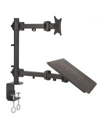 """TygerClaw """"LCD66001T"""" Single Arm Monitor Desk Mount with Laptop Holder"""
