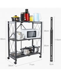 "TygerClaw ""TYDS140045S"" 3-Layer Folding Mobile Steel Shelving Unit"