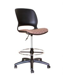 TygerClaw TYFC3307 Adjustable Rolling Swivel Stool with Backrest